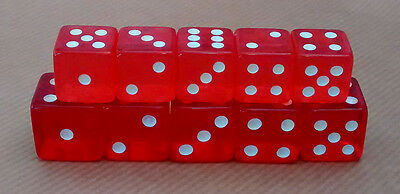 DICE RED SIX SIDED TRANSLUCENT PACK 5 15mm 19mm POKER BOARD GAMES