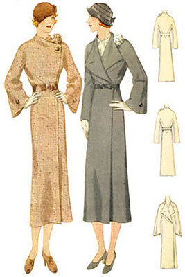 #T7039 - 1930s Ladies Coat With Flower Accent Sewing Pattern - Retro Glamour
