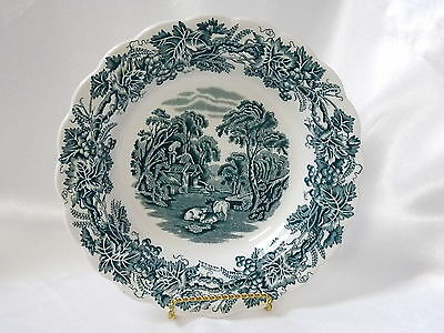 "Booths China British Scenery Green Scalloped Rimmed Soup Bowl 8-1/2"" A8024"