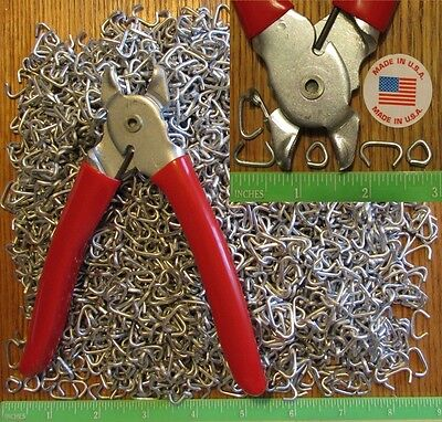 """Hog Rings Ringer Pliers & 2500pcs 1/2"""" Galv Netting fences cages Car Upholstery"""