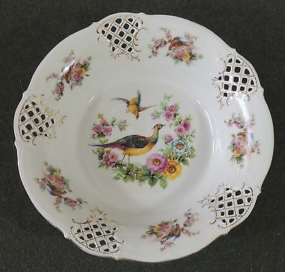 Schumann Dresden Germany Cutwork Pierced Reticulated Serving Bowl Pheasant Bird