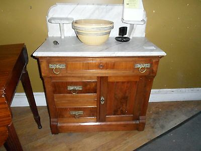 Antique Eastlake Black Walnut marble top commode American ca 1880s