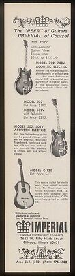 1968 Imperial electric & acoustic guitar photo vintage print ad