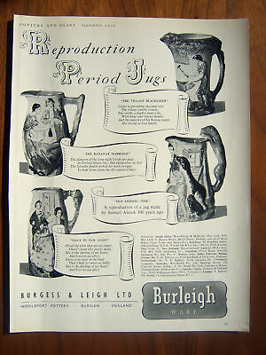 1950 Burleigh & Leigh Ware Period Jugs Pottery Ad