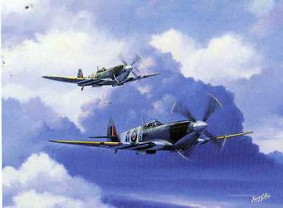 WW2 SPITFIRE DUO Mk IX--- AIRCRAFT PRINT BY BARRY PRICE