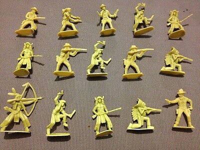 Lot Of 15 Vintage Yellow Plastic Cowboys And Indians