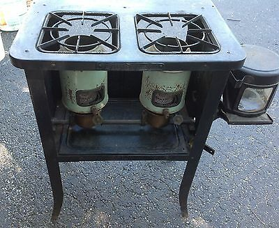 VINTAGE NEW PERFECTION 502  KEROSENE STOVE....2 BURNER SIZE, COLLECTIBLE ANTIQUE