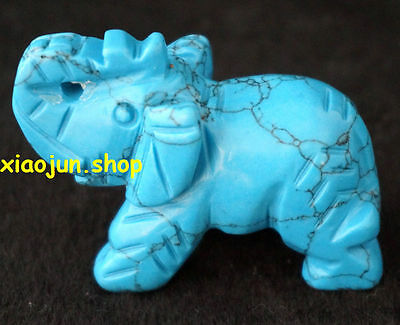 Pretty Blue  Turquoise  Gemstone Hand Carved Elephant Figurine