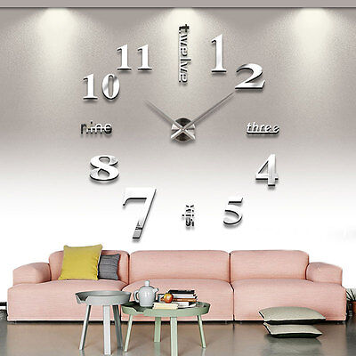 New Luxury Large DIY 3D Mirrors Face Wall Clock Home Living Office Decoration