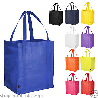 10 PACK Reusable Grocery Tote Shopping Bag Reinforced Base Non Woven Shopper UK