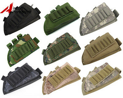 Tactical Military Hunting Rifle Shotgun Stock Ammo Pouch Holder w/ Cheek Pad