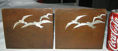 Antique Heintz Seagull Bird Bronze Sterling Silver Mission Arts Crafts Bookends