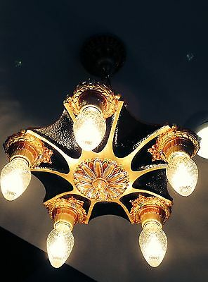 1920 Antique Vintage Art Deco recreatd  5 bulb chandelier