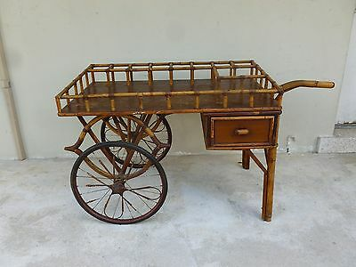 Very Rare Turn Of The Century Unusual Form  Godfather Rattan Tiki Bar Cart