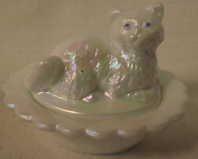Mosser Mother or Pearl Glass w/ Blue Eyes Covered Cat Salt Cellar