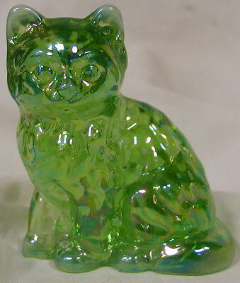 Mosser Green Opalescent Carnival Solid Glass Fluffy Cat
