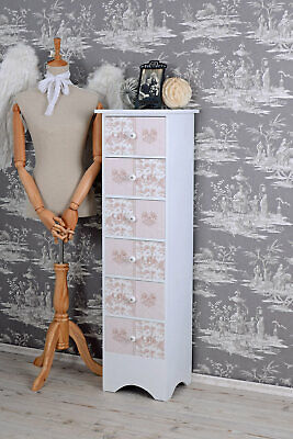 Vintage High Chest Drawers Shabby Chic Dresser 6 Toile De Jouy