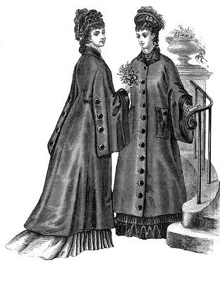 #E0171 - 1876 Ladies Coat With Draped Sleeves Sewing Pattern - Victorian