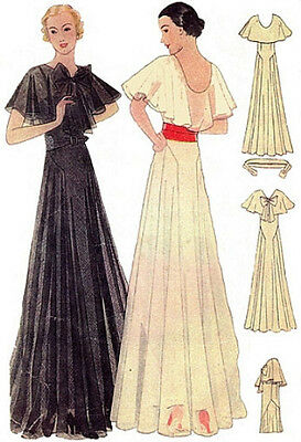 #T7292 - 1930s Evening Gown with Capelet Sewing Pattern - Retro Glamour