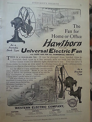 1909 Desk Bracket  Hawthorn Universal Electric Fan from Western Electric Co Ad