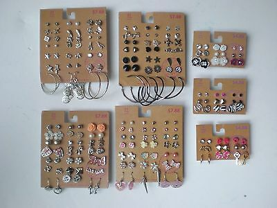 Lot of 111 Pairs of Studs Hoops  and Dangle Earrings Hypo Allergenic New