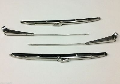 55 56 57 Chevy Polished Stainless Windshield Wiper Arms & Blades 1955 1956 1957