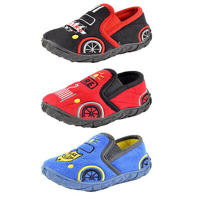 Boys Red Fireman Black Racing Blue Police Car Novelty Slippers UK Sizes 3-10