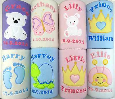 Personalised Embroidered Baby Fleece Blanket New Birth Name Date Gift Keepsake