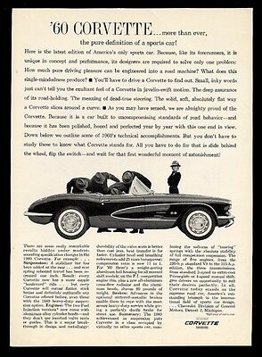 """1960 Chevrolet Corvette convertible """"the pure definition of a sports car"""" ad"""