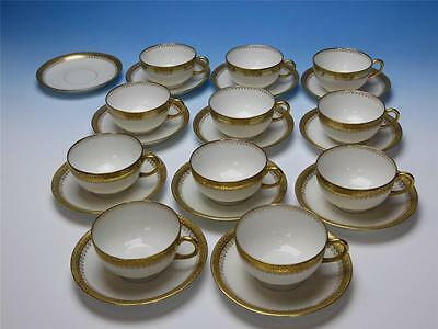 J Pouyat Limoges France - Gold Embossed Borders - 11 Cups, 12 Saucers