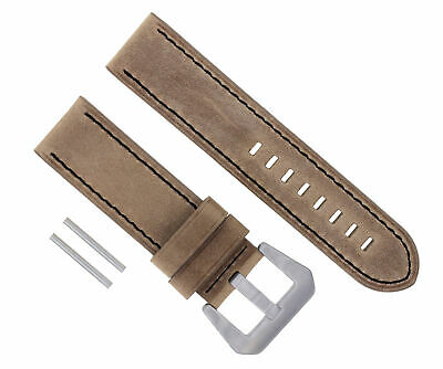 24Mm Pam Leather Strap Watch Band For 44Mm Panerai Gmt 1950 Sand Black #17 Long