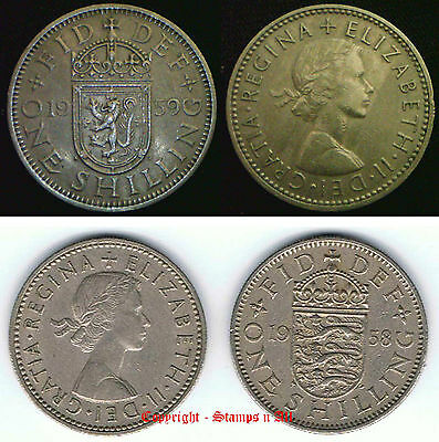 1/- 1 Shilling 1953 to 1966 English or Scottish Choose - supplied in coin wallet