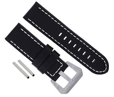 24Mm Leather Watch Band Strap For 44Mm Panerai Militare 88 90 104 177 Black Ws 3