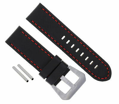 24Mm Pam Leather Watch Band Strap For 44Mm Panerai 88 562 441 90 104 Black Red 3