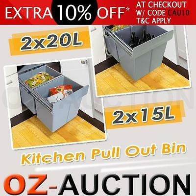 Twin Pull Out Bin Kitchen Waste Basket Double Dual Slide Garbage Rubbish 15L 20L