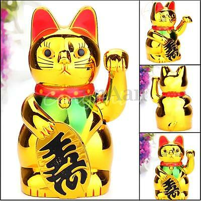 Chinese Lucky Waving Cat Golden Powered Figure With Moving Arm Size 15.5CM