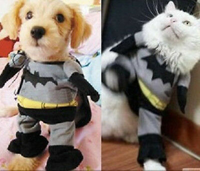 Cotton Clothes Costumes Batman Suit FOR Pets Puppy Dogs Cats 4 Sizes With Shawl