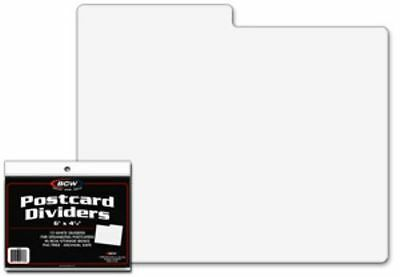"Pack /10 BCW White Plastic Postcard / 4x6 Photo Dividers - 6 x 4 with 3-1/2"" tab"
