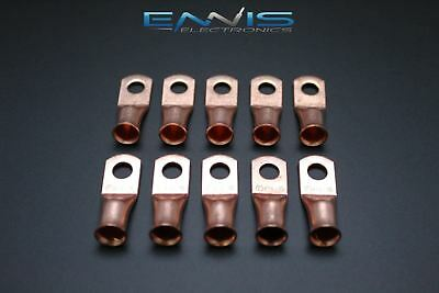 4 Gauge Copper 1/4 Ring 10 Pk Crimp Terminal Connector Awg Ga Car Eye Cur414