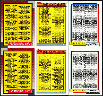 1989 1990 1991 TOPPS MAJOR LEAGUE DEBUT BASEBALL UNMARKED CHECKLIST CARDS SETS