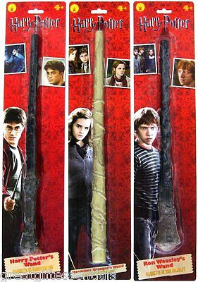 Harry Potter Ron Weasley Hermione Granger Magic WAND SET Toy Hogwarts Wands NEW