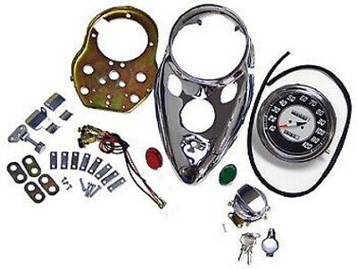 Cateye Speedometer 2:1 Chrome Dash Kit Harley Fl Shovelhead Fx 1966 Thru 1984