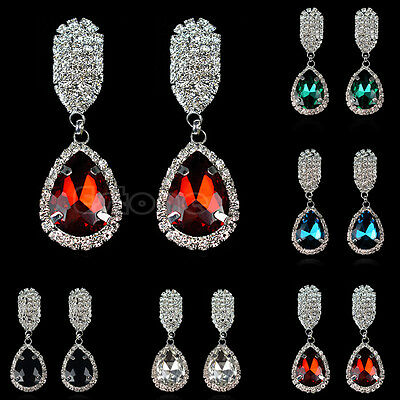 Fashion Women Classic Style Rhinestone Glass Crystal Silver Water Drop Earrings