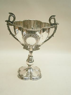 VICTORIAN SILVER PLATED QUATREFOIL TROPHY/CHALICE/CUP