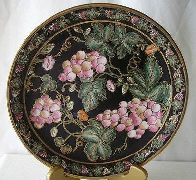 Black W/ Pink Grapes Berries Collectible Plate Andrea Sadek Gold Gilded EUC