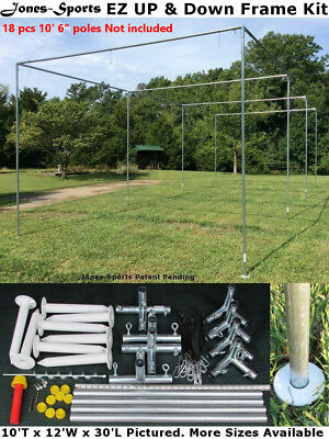 Batting Cage Frame Kit 10' x 12' x 30' EZ UP & DOWN Baseball Softball Frame Kit