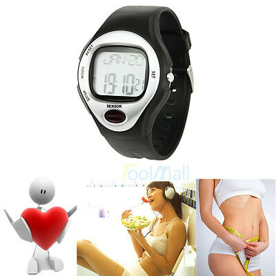 Silver Pulse Heart Rate Monitor Calories Counter Fitness Watch+US Free Shipping