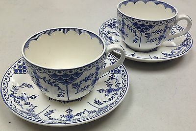 Blue Danish Ridgways England Lawley Blue White 2 Cup Saucer Sets Crazing Classic