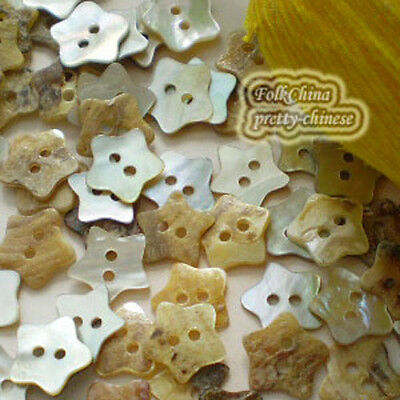 20 x Star 11mm Mother Of Shell Buttons Sewing Scrapbooking Beads Craft New