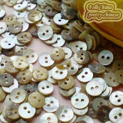 200 x Round 7mm Mother Of Shell Buttons Sewing Scrapbooking Beads Craft